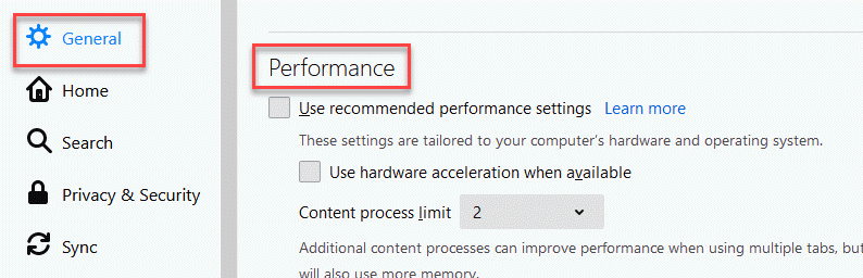 General Performance Uncheck All Options