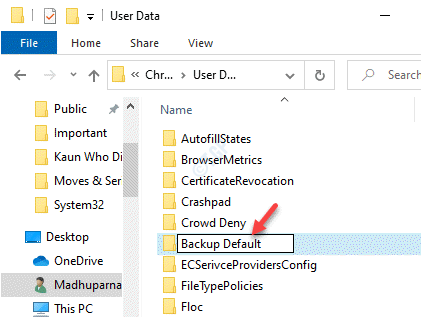 Google Chrome User Data Path Default Folder Rename Backup Default