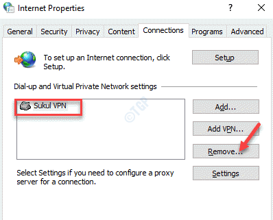 Internet Propertie Connections Vpn Remove