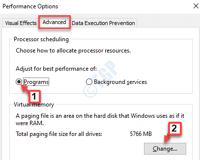 Performance Options Advanced Adjust For Best Performance Of Programs Change