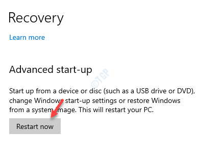 Recovery Advanced Start Up Restart Now