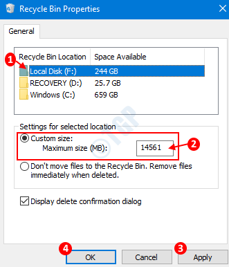 Recycle Bin Property Settings