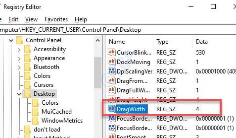 Registry Editor Desktop Dragwidth Double Click