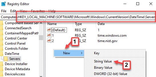 Registry Editor Navigate To Servers Right Click New String Value