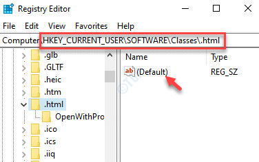 Registry Editor Navigate To .html Key Default Double Click
