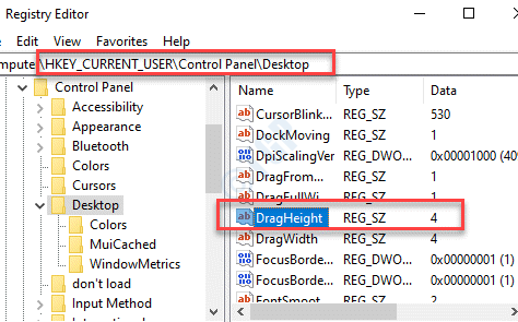Registry Editor Navigate To Path Desktop Dragheight Double Click