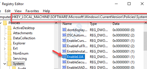 Registry Editor Navigate To Path System Enablelua Double Click