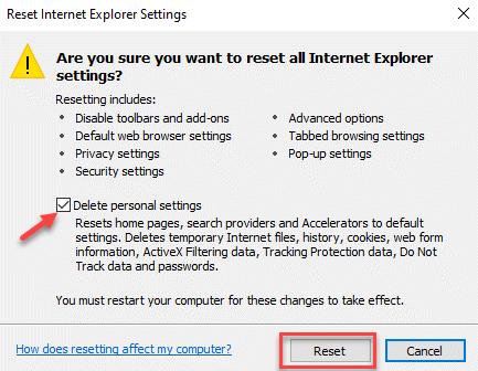 Reset Internet Explorer Settings Delete Personal Settings Reset