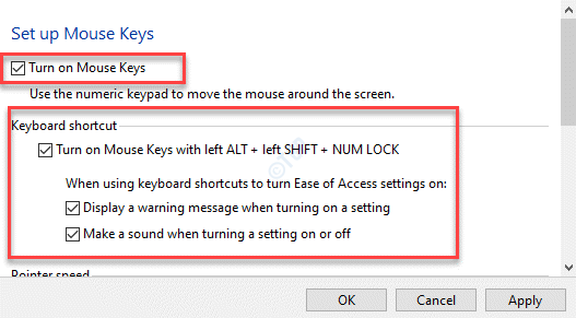 Set Up Mouse Keys Turn On Mouse Keys Check Keyboard Shortcut