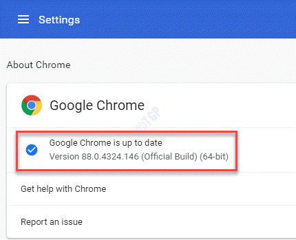 Settings About Chrome