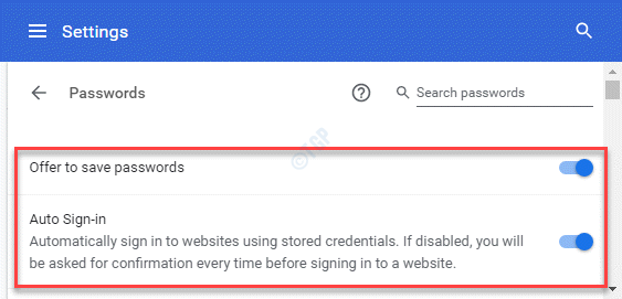 Settings Autofill Passwords Offer To Save Passwords Auto Sign In Enable
