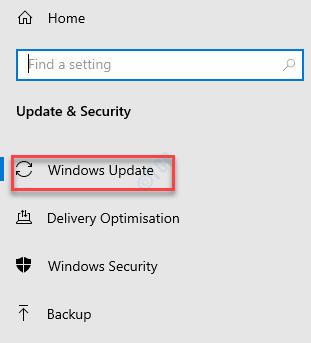 Settings Update & Security Windows Update