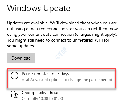 Settings Windows Update Pause Updates For 7 Days