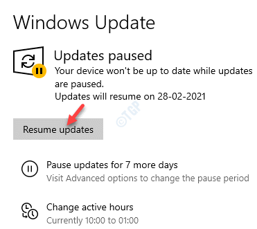 Settings Windows Update Resume Updates