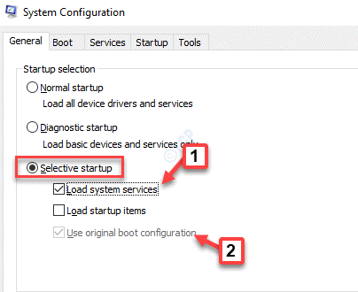 System Configuration General Selective Startup Check Load Startup Items Uncheck Load System Services Use Original Boot Configuration Check