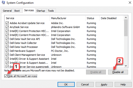 System Configuration Hide All Microsoft Services Check Disable All