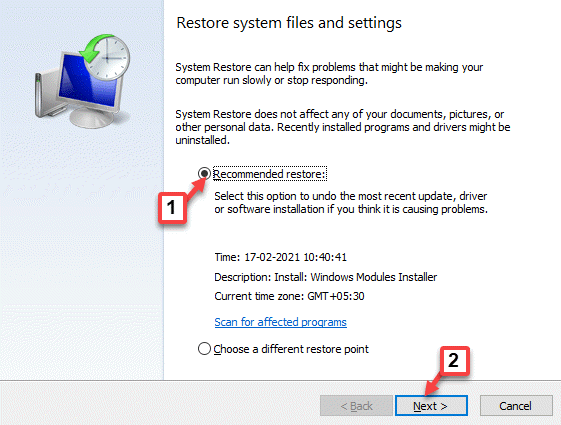 System Restore Recommended Restore Next