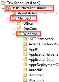 Task Scheduler (local) Task Scheduler Library Microsoft Windows