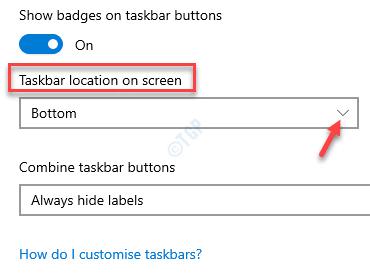 Taskbar Settings Taskbar Location On Screen Change Field