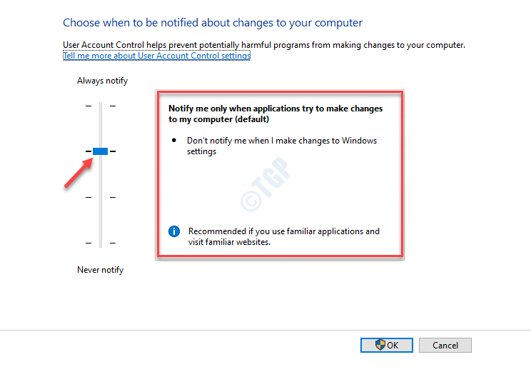 User Account Control Settings Set Bar To Default Notify Me Only When Applications Try To Make Changes To My Computer