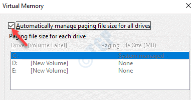 Virtual Memory Automatically Manage Paging File Size For All Drives Check