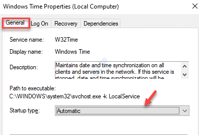 Windows Time Properties General Startup Type Automatic