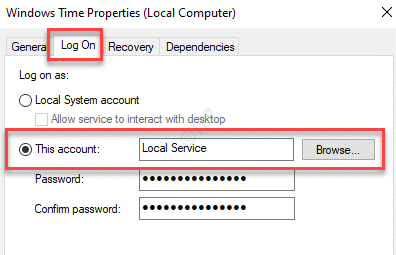 Windows Time Properties Log On This Account Browse