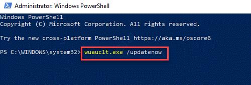 Windows Powershell (admin) Run Update Command Enter