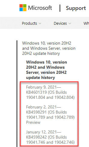 Windows Update History Left Side Look For Latest Update Based On Windows Version And Os Build
