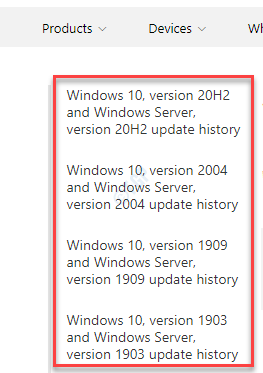 Windows Update History Left Side Look For Your Windows 10 Version