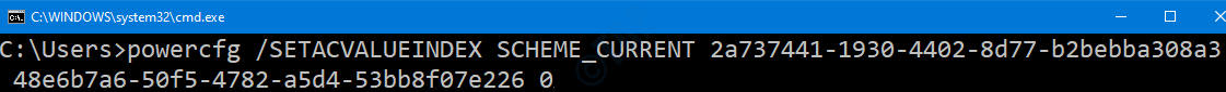 Cmd Disable Plugged In