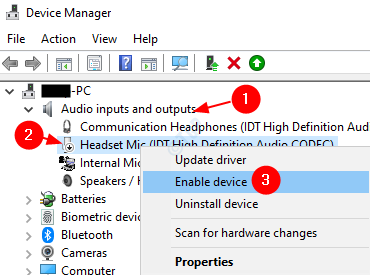 Device Manager Enable Driver
