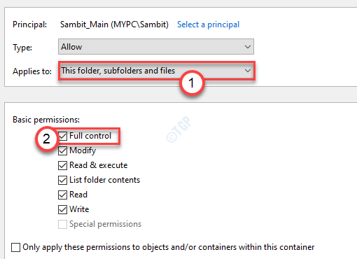 Full Control With This Folder Applied To Min