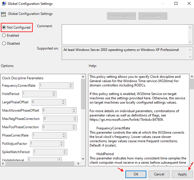 Global Config Settings Not Configured