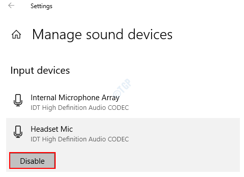 Manage Sound Devices Disable