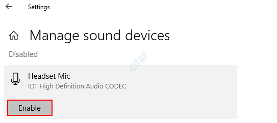 Manage Sound Devices Enable