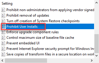 Prohibit User Installs