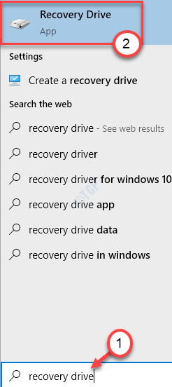 Recovery Drive Search Min