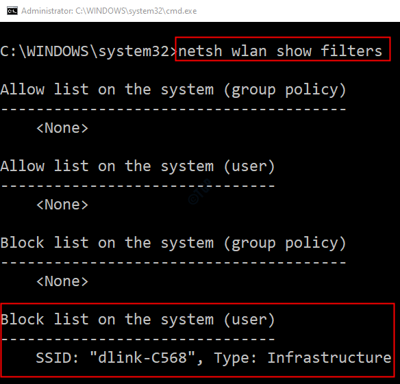 Show Wlan Filters