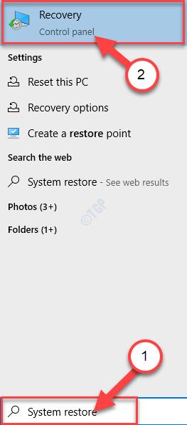 System Restore Search Min