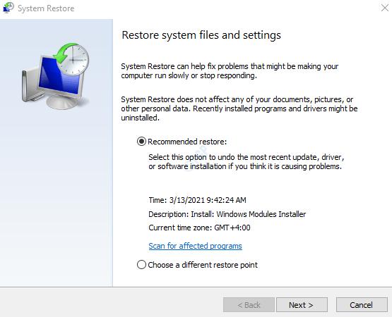 System Restore Window