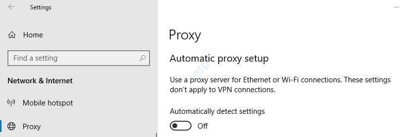 Proxy in settings
