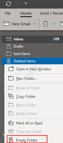 Empty deleted items
