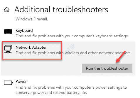 Additional Troubleshooters Network Adapter Run The Troubleshooter