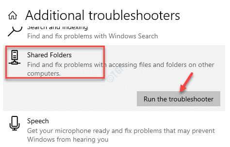 Additional Troubleshooters Shared Folders Run The Troubleshooter