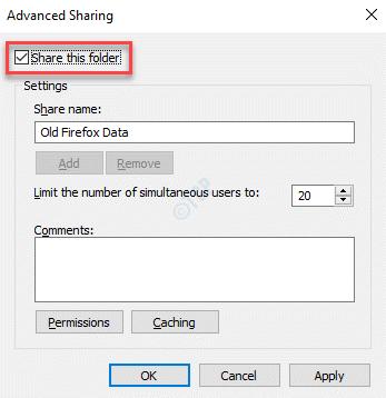 Advanced Sharing Share This Folder Check Apply Ok
