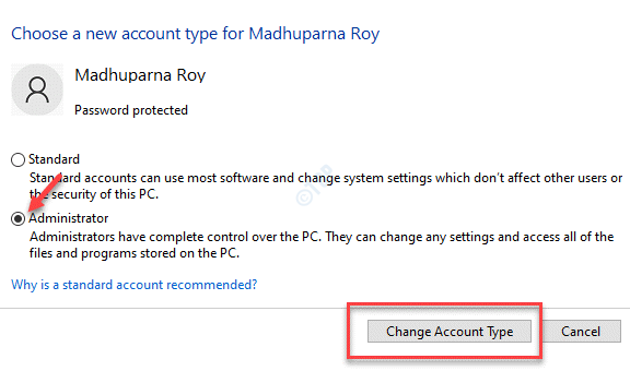 Choose A New Account Type Administrator Change Account Type