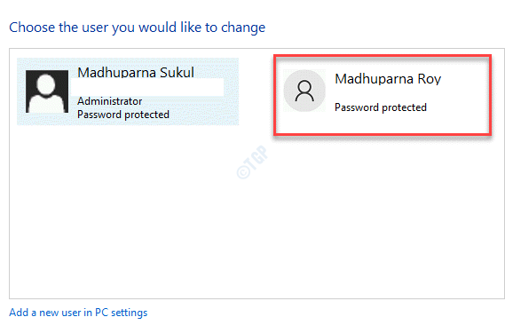 Choose The User You Would Like To Change Select New User Account