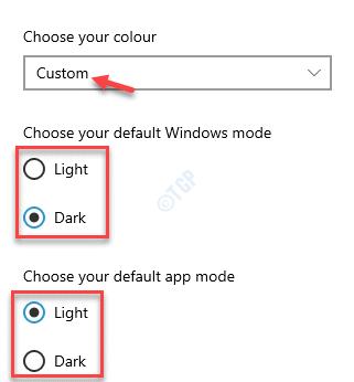 Choose Your Colour Custom Choose Your Default Windows Mode Choose Your Default App Mode Light Or Dark