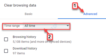 Clear Browsing Data Advanced Time Range All Time
